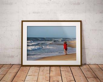 Beach photo, girl on the beach, beach print, summer print, ocean photo print, Outer Banks photo print, North Carolina, Carolina beaches