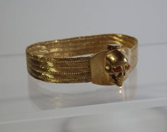 Amazing Antique Gold-Plated Silver Bracelet-Memento Mori Skull-Victorian Style-19th Century