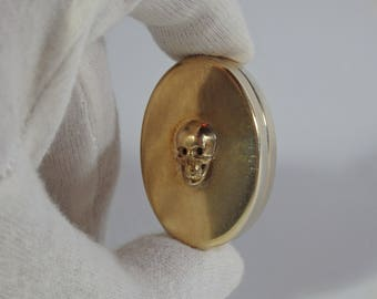 Superb Antique Gold-Plated Silver Pill/Poison Box With Memento Mori Skull-Circa 1900