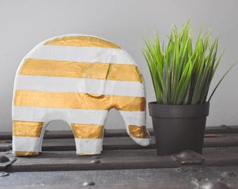 White and Gold Handmade Paper Mache Elephant