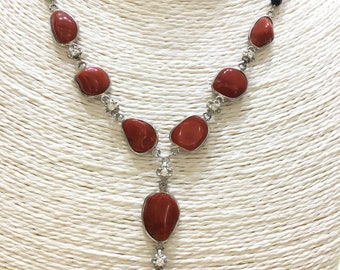 Onyx necklace, natural coral and cubic zirconia