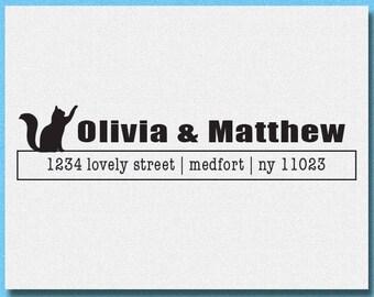 Kitty Cat Return Address Stamp, Personalized Address Stamp, Home Address Stamp, Rubber Stamp or Self Inking Address Stamp