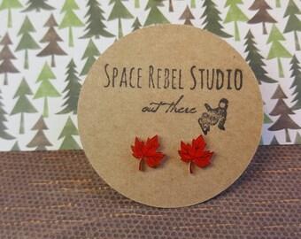 FALL MAPLE LEAF Studs/Earrings ~ Maple Leaf Studs ~ Autumn Earrings ~ Fall Jewelry ~ Autumn/Fall Leaves ~ Maple Leafs ~ Hand Drawn
