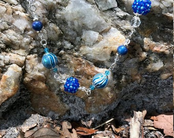 Cobalt Blue Glass and Acrylic Beaded Necklace and Earring Set