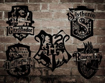 Harry Potter 5 pk of House Crest Silhouettes PNG Cricut