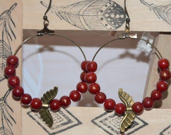 red glass bead Hoop, Angel
