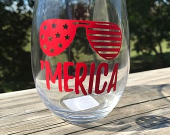 Merica Stemless Wine Glass