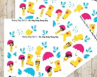 Rainy day girls stickers.