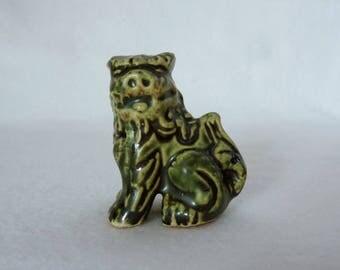 "VJ873:Shisa lion/dog figurine,Old""Wabi-Sabi""Japan Okinawa Shisa Lion/dog ceramic Okimono ornament,Lucky Charm Protector,hand made in Japan"