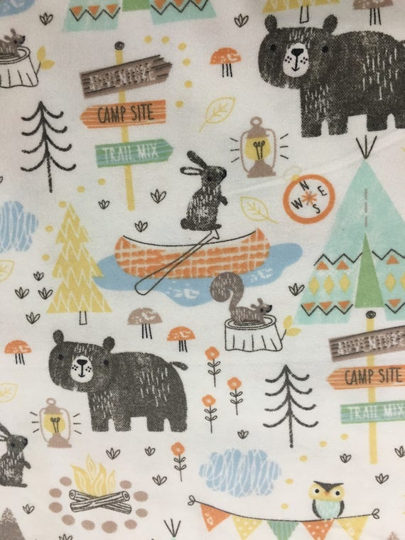 Tribal Print Flannel Fabric Bears Teepees Camping Theme