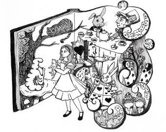 "Alice in Wonderland Art Print 8.5"" x 11"" {cheshire cat, mad hatter, tweedledee, queen of hearts, white rabbit, caterpillar}"