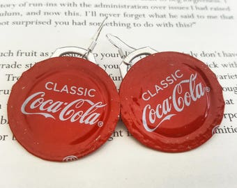 UPCYCLED RECYCLED ECOFRIENDLY substainable coke bottle earrings red