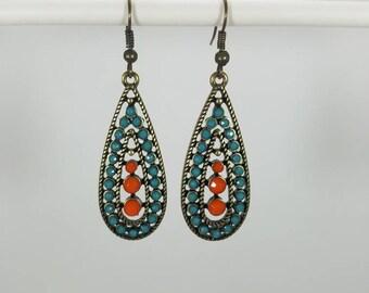 Blue and Orange dangle earrings
