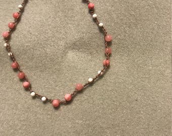 Pink and White Beaded Crochet Necklace