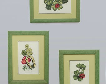 """Set of embroidered paintings """"Clover"""", cross-stitch. A symbol of good luck."""