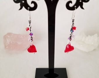 Swarovski Red Heart Sterling Silver Dangle Earrings