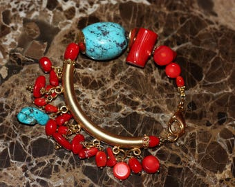 Semi-precious natural gemstones and 925 gold plated silver bracelet in blue and red