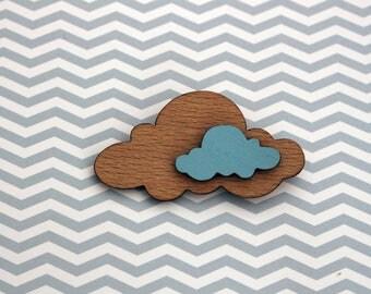 Wooden cloud brooch - laser cut brooch - wooden jewellery - wooden jewelry