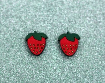 Wooden strawberry earrings - red strawberry studs, wooden jewelry, wooden jewellery, handmade earrings, fruit studs