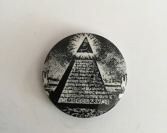 Vintage Illuminati EYE Pyramid Button - 1.5inches - 1980s Throwback