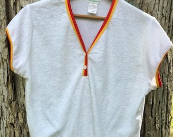 70's terry cloth crop top