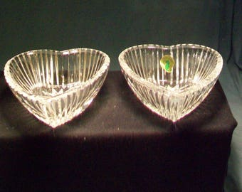 Two Waterford Heart Shaped Crystal Dishes