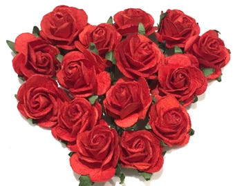 Red Open Mulberry Paper Roses Or002