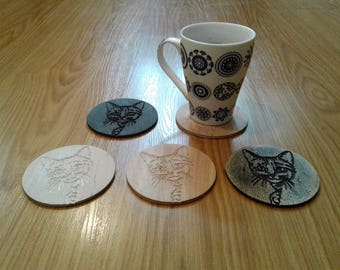Engraved Curious Cat Coasters Made from Birch