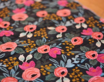 Double Sided Table runner in Rifle Paper Rosa Natural Canvas and Navy