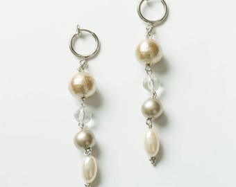 Champagne color cotton Pearl Earrings