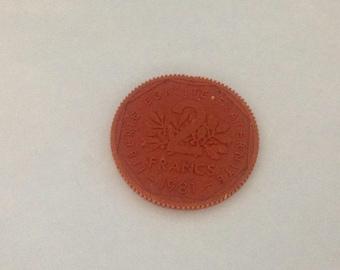 Vintage Francs  Coin Eraser 1980s 80s #2