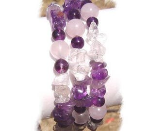 Pink amethyst and rock crystal Quartz bracelet