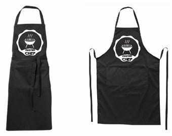 Full modern black apron Masterchef-for-her or for him-two pockets-hq printed-BBQ-for gift-father day-mother day-Christmas-new year-Birthday