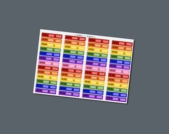 Work Labels Planner Stickers: Rainbow Colours