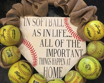 Softball Wreath - Important Things Happen At Home - Team Mom Gift