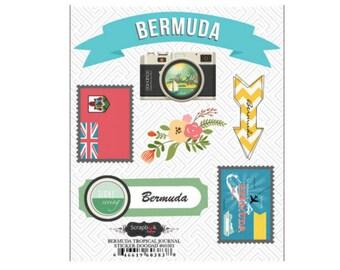 Scrapbook Stickers - Scrapbook Customs Bermuda Doo Dads Dimensional Travel & Vacation 3d Embellishments