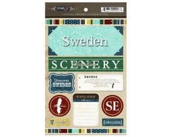 Scrapbook Stickers - Scrapbook Customs Lovely Collection Explore Sweden Cardstock Travel & Vacation Embellishments