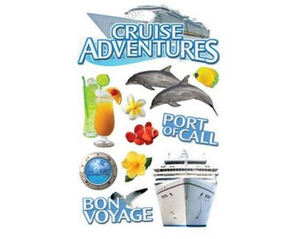 Scrapbook Stickers - Paper House Productions Cruise Travel & Vacation Dimensional 3d Sticker Embellishments