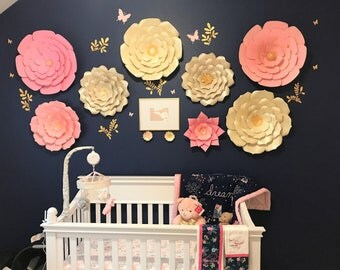Large paper flowers nursery wall decor. Large flowers wall. Nursery flowers. Baby shower backdrop. Large pink flowers wall. Nursery flowers.