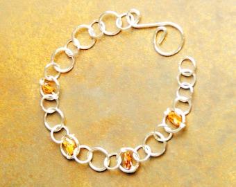 Silberösenkettchen, silver bracelet with amber stones