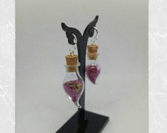 Vial bottle Pearl bright colors - purple caviar beads earrings