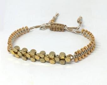 Macrame beaded bracelet; gold and cream beaded, bracelet