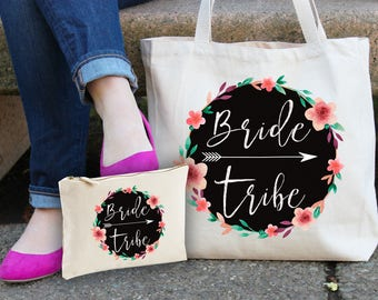 Bride Tribe Tote & make up bag gift set - bride tribe totes - bridesmaid bags - bridal shower totes - bride tribe bags - bridal shower gifts