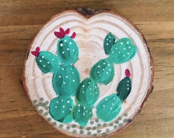 Prickly Pear Cactus Coaster or Ornament