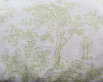 Minky Toile Green and White