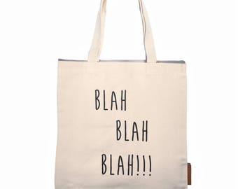 Blah blah blah 100% cotton, 12oz natural canvas tote bag. Ideal for a market bag, handbag, beach bag, shopping bag, grocery bag, library bag