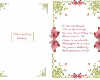 Bow Birthday card inserts with verse