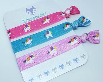 Hair Ties | Elastic Hair Ties | Hair Tie Bracelets | Unicorns | Unicorn Set | Pink | Purple | Blue