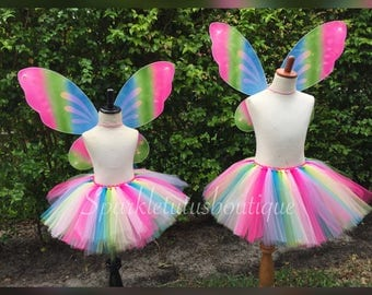 Colorful Butterfly tutu and wings, rainbow tutu, rainbow wings, matching sets, mommy and me