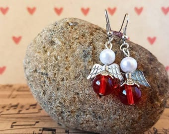 Angel earrings-red